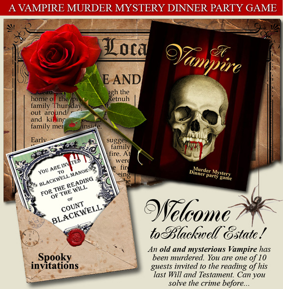 Download a printable murder mystery party game now for Secret dinner party